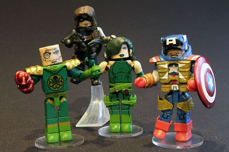 Diamond Select Toys' offers detailed, 2-inch tall versions of Baron Strucker, Winter Soldier, Viper and Fighting Chance Captain America in its Series 54 Minimates . (Photograph by Joseph Szadkowski / The Washington Times)