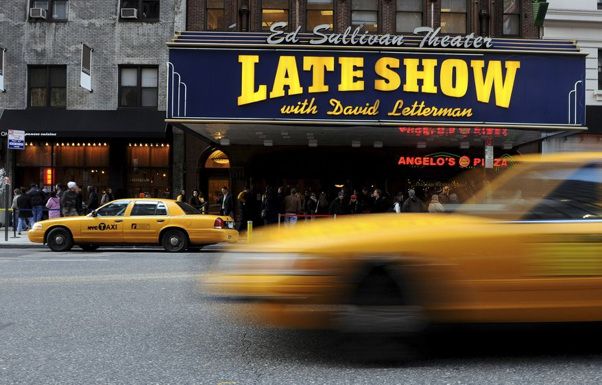 """FILE - This Jan. 2, 2008 file photo shows the Ed Sullivan Theatre where the """"Late Show with David Letterman"""" is taped in New York.  Letterman announced his retirement during a taping on Thursday, April 3, 2014. Although no specific date was announced he told the audience that he will leave his desk sometime in 2015. (AP Photo/Peter Kramer, File)"""