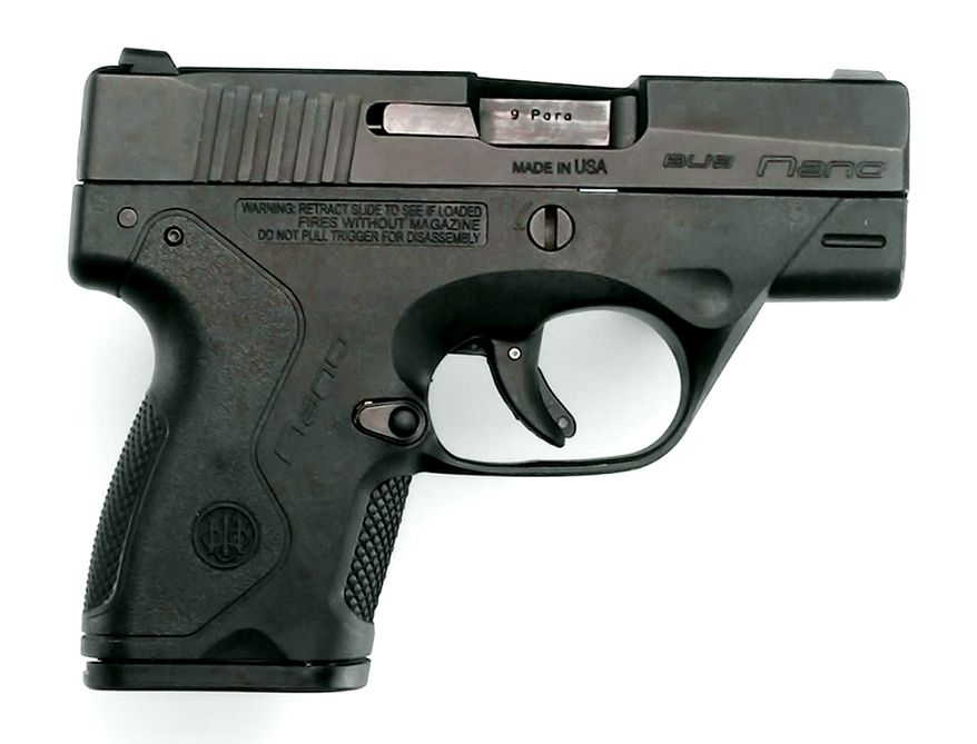 """Beretta Nano 9mm has a thin, snag-free profile, that effortlessly glides in and out of your holster, while its smooth contour and low weight offer you maximum comfort even for all-day carry. At less than 1"""" wide and just over 5"""" overall length, it will disappear for ideal concealment thanks to its flat, low profile."""