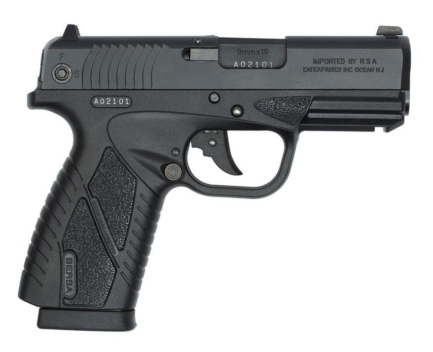 BERSA BP9CC (Concealed Carry) is a lightweight, semi-auto 9mm.  At 0.94 inches wide, the BP9CC is significantly trimmer than the subcompact versions of any number of popular service pistols.  BERSA's first polymer frame handgun, with more advanced features, specially designed for concealed-carry personal protection. The BPCC provides accuracy and fire power in a lightweight, compact, ultra thin handgun. The ergonomic design improves line-of-sight and provides greater control during use.