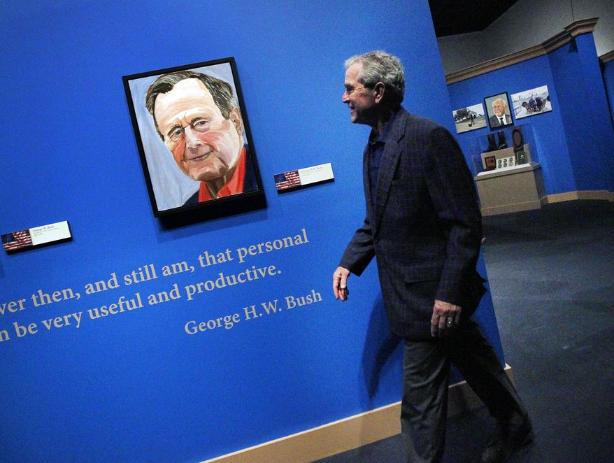 "Former President George W. Bush tours his new exhibit, ""The Art of Leadership: A President's Personal Diplomacy"" at the George W. Bush Presidential Library and Museum in Dallas,  Tuesday, April 1, 2014. Bush, who started painting in 2012, three years after leaving office, said reading an essay by the late British Prime Minister Winston Churchill on painting inspired him to take lessons. The exhibit runs through June 3.  (AP Photo/The Dallas Morning News, Mona Reeder)  MANDATORY CREDIT; MAGS OUT; TV OUT; INTERNET USE BY AP MEMBERS ONLY; NO SALES"