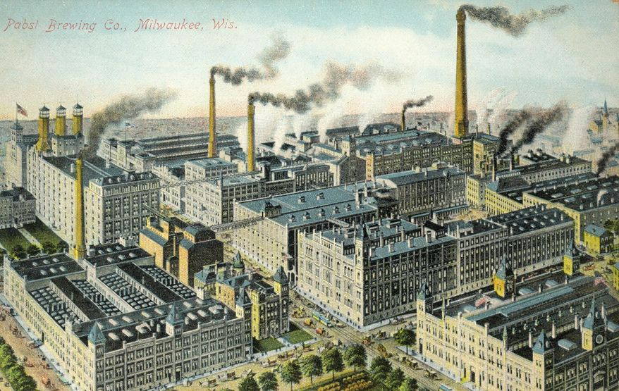 This image provided by the Pabst Mansion museum shows a postcard depicting the Pabst Brewery around 1900 in Milwaukee. A small group of Milwaukee residents want to revive the city's beer brewing tradition by buying Pabst Brewing Co. from a California executive in hopes of returning the brand's headquarters to its birthplace. (AP Photo/Pabst Mansion)