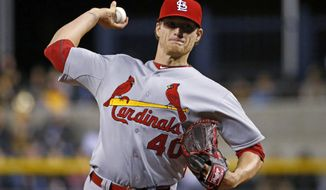 St. Louis Cardinals starting pitcher Shelby Miller delivers during the first inning of a baseball game against the Pittsburgh Pirates in Pittsburgh on Friday, April 4, 2014. (AP Photo/Gene J. Puskar)