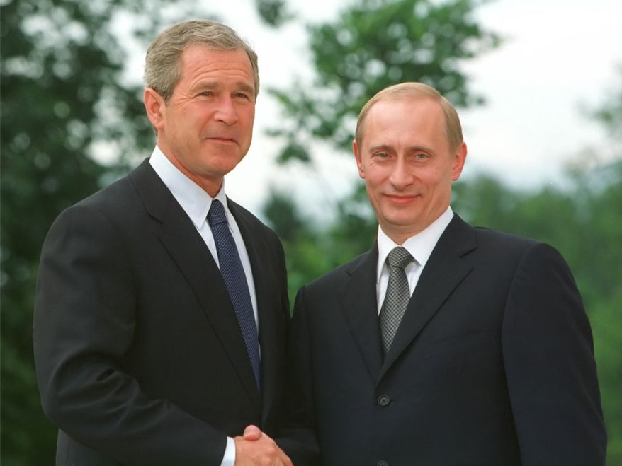 Former President George W. Bush and Russian leader Vladimir Putin.