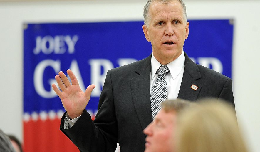 In this Thursday, March 6, 2014 photo, North Carolina House of Representatives Speaker Thom Tillis, R-Mecklenburg, addresses attendees during Wilson County's Republican Convention, held on the campus of Wilson Community College in Wilson, N.C. As one of the architects of the Republican revolution arriving in Raleigh three years ago, Tillis has received both praise and consternation among Republicans during his U.S. Senate campaign. (AP Photo/The Wilson Times, Brad Coville)