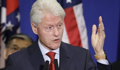 Former President Bill Clinton speaks at a political fundraiser in Hot Springs, Ark., for Former Federal Emergency Management Agency Director James Lee Witt Saturday, April 5, 2014. Witt is running for Congress as a Democrat in Arkansas' 4th district. (AP Photo/Danny Johnston)
