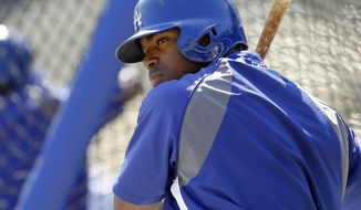 Los Angeles Dodgers' Yasiel Puig warms up at the batting cage prior to a baseball game against the San Francisco Giants on Saturday, April 5, 2014, in Los Angeles. (AP Photo/Alex Gallardo)