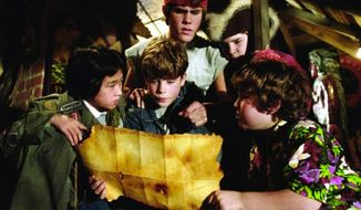 Sean Astin, Josh Brolin, Jeff Cohen, Corey Feldman, and Jonathan Ke Quan stared in 1985's The Goonies. (Image: Warner Bros.)