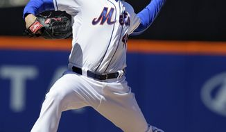 New York Mets starting pitcher Jonathon Niese throws during the first inning of a baseball game against the Cincinnati Reds at Citi Field, Sunday, April 6, 2014, in New York. (AP Photo/Seth Wenig)