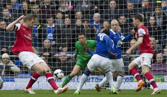Everton's Romelu Lukaku, centre right, scores past Arsenal's goalkeeper Wojciech Szczesny during their English Premier League soccer match at Goodison Park Stadium, Liverpool, England, Sunday April 6, 2014. (AP Photo/Jon Super)