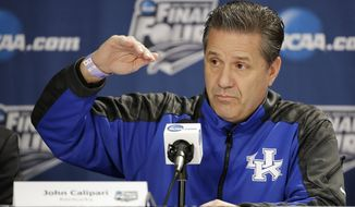 Kentucky head coach John Calipari answers a question during a news conference for the NCAA Final Four tournament college basketball championship game Sunday, April 6, 2014, in Arlington, Texas. Kentucky plays Connecticut in the championship game on Monday, April 7. 2014. (AP Photo/Tony Gutierrez)