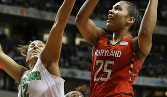 Maryland forward Alyssa Thomas (25) shoots against Notre Dame forward Taya Reimer (12) during the second half of the championship game in the Final Four of the NCAA women's college basketball tournament, Sunday, April 6, 2014, in Nashville, Tenn. (AP Photo/John Bazemore)