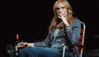 "This 2014 photo provided by Jeffrey Richards Associates shows, Toni Collette, in a scene from ""The Realistic Joneses"" at Broadway's Lyceum Theatre, in New York. (AP Photo/Jeffrey Richards Associates, Joan Marcus)"