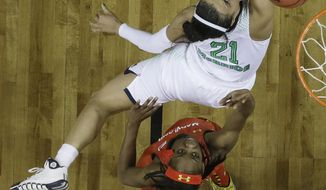 Notre Dame guard Kayla McBride (21) shoots over Maryland guard Lexie Brown (4) during the first half of the championship game in the Final Four of the NCAA women's college basketball tournament, Sunday, April 6, 2014, in Nashville, Tenn. (AP Photo/Mark Humphrey)