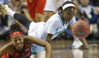Notre Dame guard Jewell Loyd (32) and Maryland guard Lexie Brown (4) vie for a loose ball during the first half of the championship game in the Final Four of the NCAA women's college basketball tournament, Sunday, April 6, 2014, in Nashville, Tenn. (AP Photo/John Bazemore)