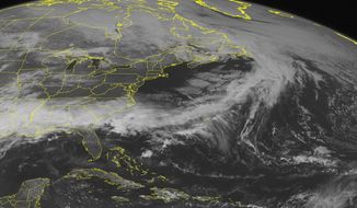 This NOAA satellite image taken Sunday, April 6, 2014, at 01:45 PM EDT shows distinct cloud cover across the Southeast U.S. into the Lower Mississippi Valley with rain and thunderstorms. Clouds are also present into the Middle Mississippi Valley becoming scattered in nature across portions of the western Ohio Valley. (AP PHOTO/WEATHER UNDERGROUND)