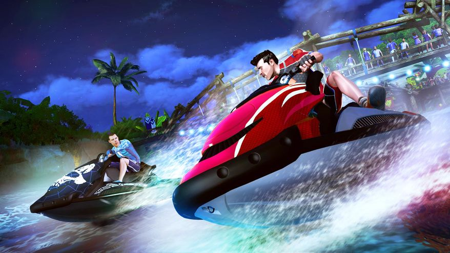 "This image provided by Microsoft shows a scene from the video game, ""Kinect Sports Rivals."" ""Rivals"" hopes to compel Xbox One owners to use Kinect for more than just navigating menus. The game itself is composed of six activities: jet ski racing, bowling, rock climbing, tennis, target shooting and soccer. (AP Photo/Microsoft)"