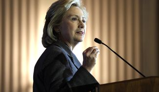 ** FILE ** In this Dec. 6, 2013, file photo, Hillary Rodham Clinton speaks after receiving the 2013 Lantos Human Rights Prize during a ceremony on Capitol Hill in Washington. (AP Photo/Susan Walsh, File)