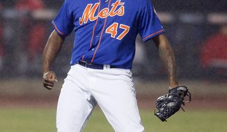 New York Mets relief pitcher Jose Valverde reacts after getting the last out of the ninth inning to secure a 4-3 win over the Cincinnati Reds in a baseball game at Citi Field in New York, Friday, April 4, 2014. (AP Photo/Paul J. Bereswill)