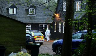 "Police officers attend the home of Peaches Geldof in Wrotham, Kent, Monday, April 7, 2014. Peaches Geldof, the wild-child second daughter of concert organizer Bob Geldof who worked as a model, a television presenter and a fashion writer and filled the pages of British tabloids with her late-night antics, has died at age 25. There was no immediate word on the cause of her death at her home in Wrotham, Kent, southeast England. Her father said in a statement Monday: ""Peaches has died. We are beyond pain."" (AP Photo/PA, Gareth Fuller) UNITED KINGDOM OUT, NO SALES, NO ARCHIVE"