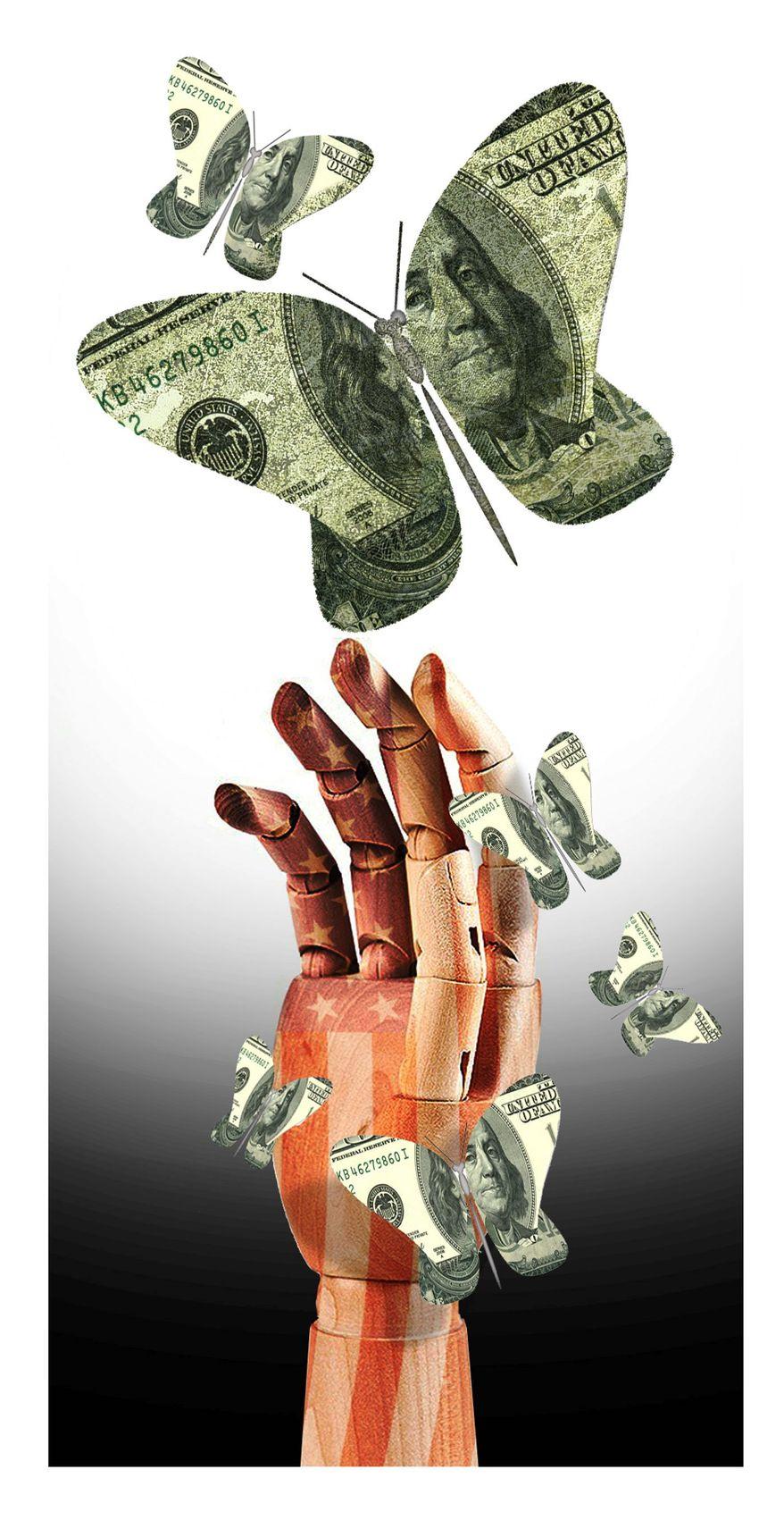 Illustration on paper money by Alexander Hunter/The Washington Times