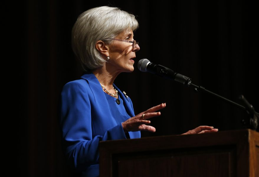 Health and Human Services Secretary Kathleen Sebelius delivers the keynote speech at the opening of the University of Colorado's annual Conference on World Affairs, in Boulder, Colo., on Monday, April 7, 2014. (AP Photo/Brennan Linsley)