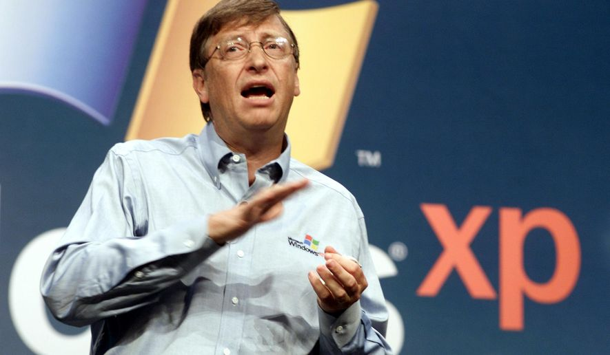 FILE - In this Oct. 25, 2001 file photo, then Microsoft chairman Bill Gates speaks during the product launch of the new Windows XP operating system in New York. Gates touted the software as the harbinger of a new era in more Internet-centric computing. On Tuesday, April 8, 2014, Microsoft will end support for its still popular Windows XP. With an estimated 30 percent of businesses and consumers still using the 12-year-old operating system, the move could put everything from the data of major financial institutions to the identities of everyday people in danger if they don't find a way to upgrade soon. (AP Photo/Richard Drew, File)
