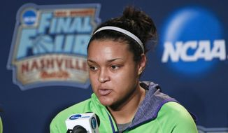 Notre Dame guard Kayla McBride answers questions during a news conference at the NCAA women's Final Four college basketball tournament Monday, April 7, 2014, in Nashville, Tenn. Notre Dame is scheduled to face Connecticut in the championship game Tuesday. (AP Photo/John Bazemore)