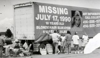 In this 1990 photo people gather during the search for Berit Beck, 18, of Sturtevant who  disappeared in Fond du Lac, Wis., in July 1990. Authorities in Fond du Lac County said Monday, April 7, 2014 that they are calling a 60-year-old Kenosha, Wis., man their prime suspect in Beck's death after newly analyzed evidence suggests he was in her vehicle.  Authorities found her body about a month later in a ditch. (AP Photo/The Reporter)