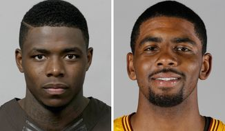 FILE - At left in a 2013 file photo is Cleveland Browns NFL football player Josh Gordon. At right in a 2013 file photo is Cleveland Cavaliers NBA basketball player Kyrie Irving. Two of Cleveland's biggest sports stars are going at it. Irving and Gordon exchanged barbs across all number of platforms over the weekend _ TV, Twitter and newspaper. (AP Photo/File)