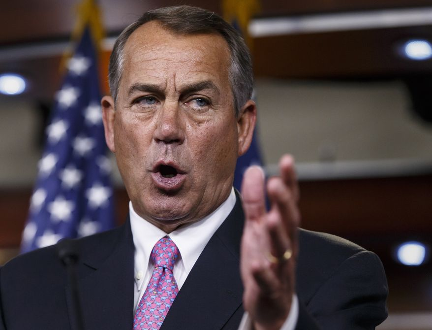 ** FILE ** This March 26, 2014, file photo shows House Speaker John Boehner of Ohio speaking during a news conference on Capitol Hill in Washington. (AP Photo/J. Scott Applewhite, File)