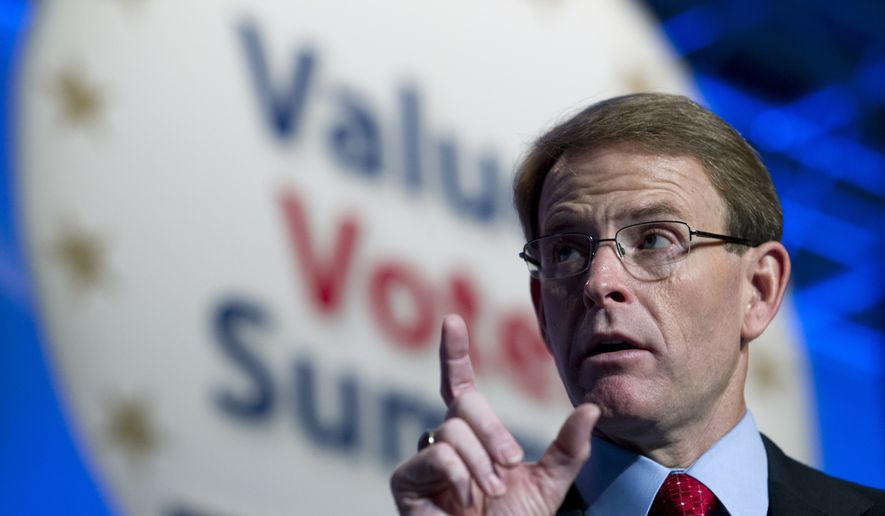 FRC Action and Family Research Council President Tony Perkins speaks during the Values Voter Summit, held by the Family Research Council Action, Friday, Oct. 11, 2013, in Washington. (AP Photo/Jose Luis Magana/File)