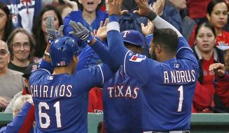 Texas Rangers' Robinson Chirinos (61) celebrates his solo home run with teammates at the dugout in the third inning of a baseball game against the Boston Red Sox at Fenway Park in Boston, Tuesday, April 8, 2014. (AP Photo/Elise Amendola)