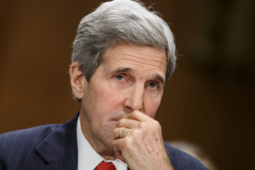 Secretary of State John F. Kerry defends the Obama administration's response to Russia's moves on eastern Ukraine during a Senate Foreign Relations Committee hearing. (Associated Press Photographs)
