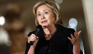 ** FILE ** In this Dec. 4, 2013, file photo, former Secretary of State Hillary Rodham Clinton speaks in New York. (AP Photo/Jason DeCrow, File)