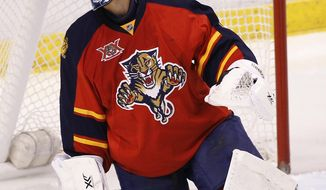 Florida Panthers goalie Roberto Luongo reacts after the Calgary Flames scored during the second period of an NHL hockey game in Sunrise, Fla., on Friday, April 4, 2014. Calgary won 2-1 (AP Photo/Terry Renna)