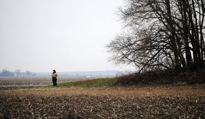 In this Monday, April 7, 2014 photo, Barbara Dow, of Brookfield, Ill., looks out across a rural field in St. Anne, Ill. field where her 16-year-old sister, Mary, and five others died in a plane crash 35 years earlier. (AP Photo/The Daily Journal, Robert Themer)