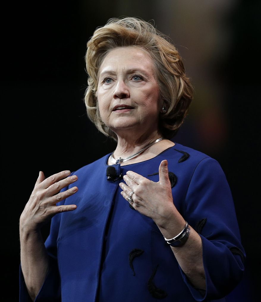 Former Secretary of State Hillary Rodham Clinton gestures while delivering the keynote address at Marketo's 2014 Marketing Nation Summit Tuesday, April 8, 2014, in San Francisco. (AP Photo/Ben Margot)