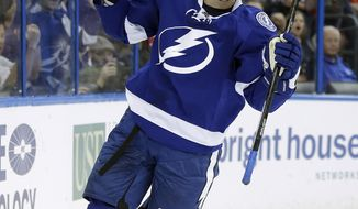 Tampa Bay Lightning left wing Ondrej Palat (18), of the Czech Republic, celebrates after scoring against the Toronto Maple Leafs during the second period of an NHL hockey game Tuesday, April 8, 2014, in Tampa, Fla. (AP Photo/Chris O'Meara)