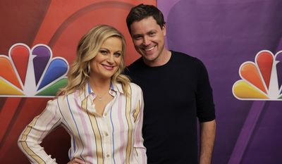 "This photo released by NBC shows Amy Poehler, left, and Greg Poehler, from the new TV series, ""Welcome to Sweden"" during NBCUniversal Summer Press Day on Tuesday, April 8, 2014, in Pasadena, Calif.  (AP Photo/NBC, Paul Drinkwater)"