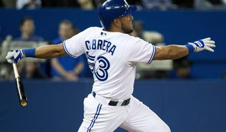 Toronto Blue Jays left fielder Melky Cabrera watches his two run home run against the Houston Astros during seventh inning of the MLB American Lerague baseball game in Toronto on Tuesday, April 8, 2014. (AP Photo/The Canadian Press, Nathan Denette)