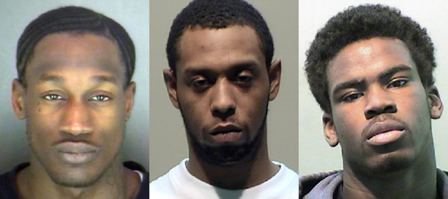 These undated photos provided by the Detroit Police Department on Tuesday, April 8, 2014 shows, from left, Wonzey Saffold, 30; James Davis, 24, and Bruce Wimbush Jr., 17. The three were charged Tuesday, April 8, 2014 in the beating of a 54-year-old man after he accidentally hit a child who stepped off the curb into the path of his truck on April 2, 2014 on the northeast side of Detroit. (AP Photo/Detroit Police Department)