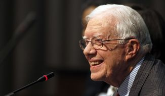 ** FILE ** In this June 28, 2013, file photo, former U.S. President Jimmy Carter speaks in Atlanta. (AP Photo/Jaime Henry-White, File)