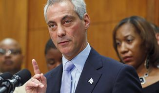 ** FILE ** In this Oct. 15, 2013 file photo, Chicago Mayor Rahm Emanuel speaks at a news conference in Chicago. (AP Photo/M. Spencer Green, File)