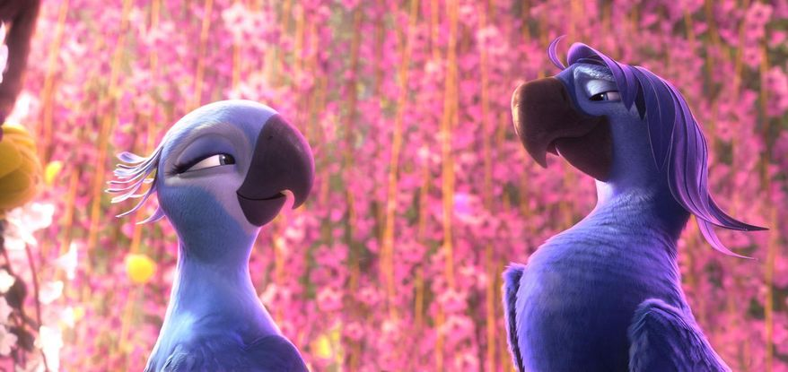 """This image released by 20th Century Fox shows Jewel, voiced by Anne Hathaway, left, and her ex-beau Roberto , voiced by Bruno Mars in a scene from the animated film """"Rio 2."""" (AP Photo/20th Century Fox- Blue Sky Studios)"""