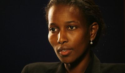 "In this Monday, Feb. 5, 2007 photo, Ayaan Hirsi Ali, writer of the film ""Submission,"" which criticized the treatment of women in traditional Islam and led to the murder of Dutch film director Theo Van Gogh, talks to a reporter in New York. Brandeis University in Massachusetts is taking heat from some of its own about plans to give an honorary degree to Ali, who has made comments critical of Islam. (AP Photo/Shiho Fukada)"