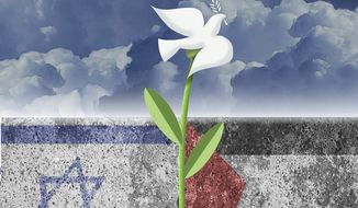 Illustration on Mideast peace by Alexander Hunter/The Washington Times
