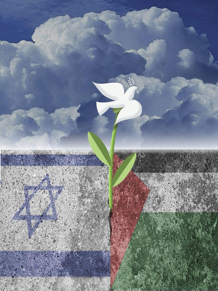 Illustration on Mideast peace by Alexander Hunter/The Washington Times