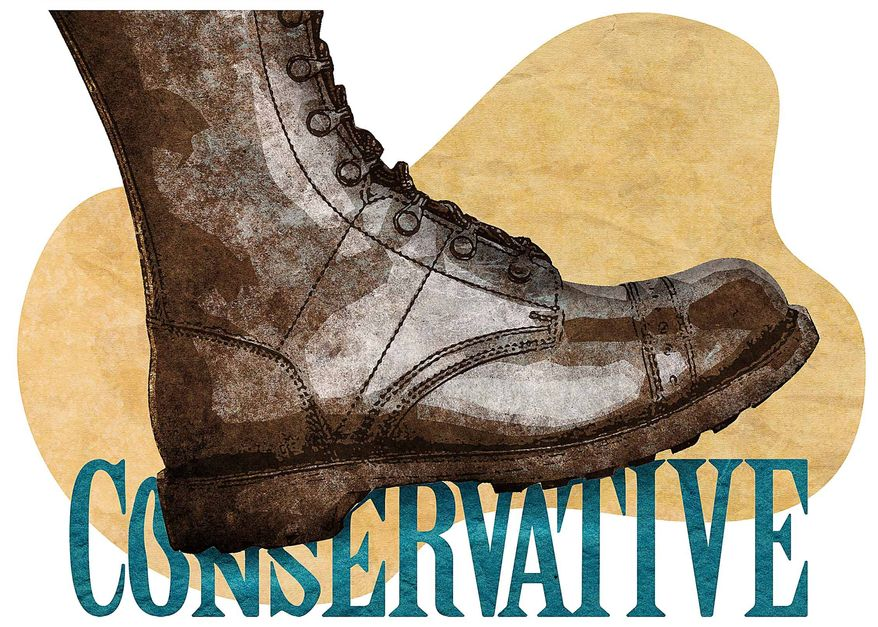Conservative Boot Illustration by Greg Groesch/The Washington Times