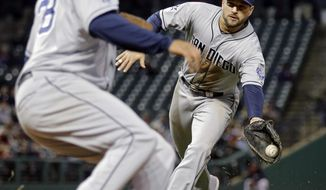 San Diego Padres first baseman Yonder Alonso flips the ball from his glove to pitcher Tyson Ross to get Cleveland Indians' Carlos Santana on a groundout in the third inning of the MLB baseball game Tuesday, April 8, 2014, in Cleveland. (AP Photo/Mark Duncan)